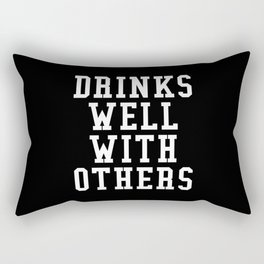 Drinks Well With Others (Black & White) Rectangular Pillow