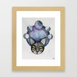 Double Vision Space Cats Framed Art Print