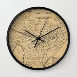 Vintage Map of Roanoke VA (1890) Wall Clock