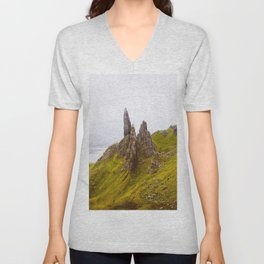 Icelandic Grassland Landscape Pointy Mountains Rocks Unisex V-Neck