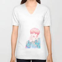 shinee V-neck T-shirts featuring SHINee Taemin by sophillustration