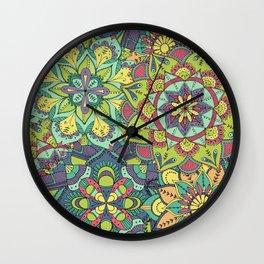 Detailed Multicoloured Layered Mandalas Illustrated Pattern Wall Clock