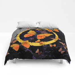 """SHABBY CHIC """"OFF THE WALL"""" BUTTERFLIES &  BLACK  ART Comforters"""
