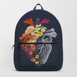 Flower Heart Spring Blue Grey Backpack