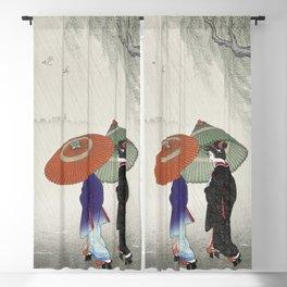 Two Women Walking in the Rain Blackout Curtain