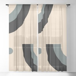 Gray Pink Black Sheer Curtain