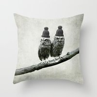 owls Throw Pillows featuring Owls by Juste Pixx Designs