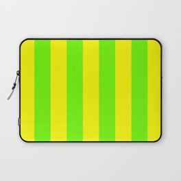 Bright Neon Green and Yellow Vertical Cabana Tent Stripes Laptop Sleeve