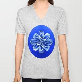 White Bloom on Blue Unisex V-Neck