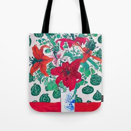 Tropical Lily Bouquet in Delft Vase with Matisse Leaf Cutout Background Tote Bag