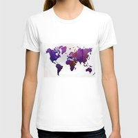 map of the world T-shirts featuring World Map by Roger Wedegis