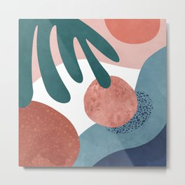 Tropical terrazzo ocher turquoise blue Metal Print