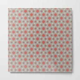 Coral Geometric Pattern # 3 Metal Print