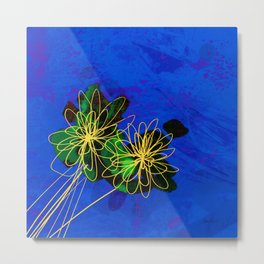 Abstract  Flowers on Blue Metal Print