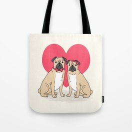 Valentine Pug dog breed small cute hearts pug puppies puppy dogs customizable valentines for dog  Tote Bag