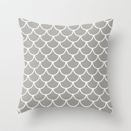 Grey Fish Scales Pattern Throw Pillow