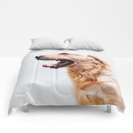 Golden Retriever Dog Yawning Comforters