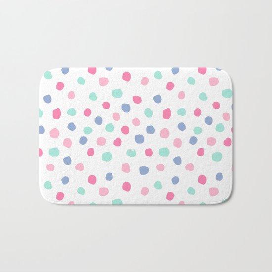 Pastel painted dots pattern minimal mint and pink nursery home decor patterns Bath Mat