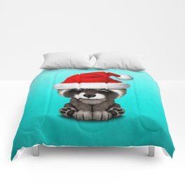 Christmas Raccoon Wearing a Santa Hat Comforters