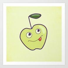 Smiling Green Cartoon Apple Art Print