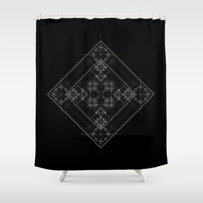 Sacred Geometry Art Black And White Occult Shower Curtain
