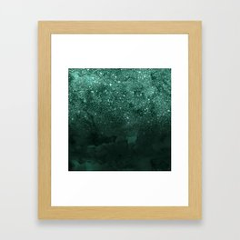 Green deep forest faux glitter ombre on green watercolor Framed Art Print