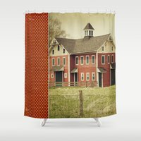 american beauty Shower Curtains featuring Americana by Farmhouse Chic