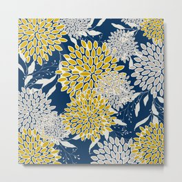 Floral Leaves and Blooms, Navy Blue, Yellow, Beige Metal Print