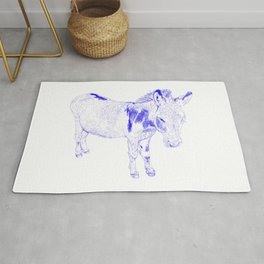 mini donkey drawing, blue Rug