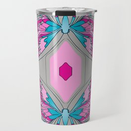 Deco Butterfly Pink & Gray Travel Mug