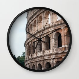 Italy Photography - The Colosseum By Some Trees Wall Clock