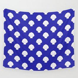 Seashells (White & Navy Blue Pattern) Wall Tapestry