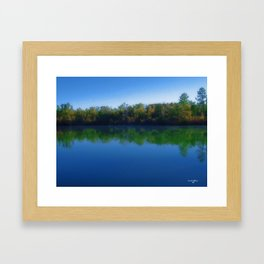 Bright Fall Day on the Pond Framed Art Print
