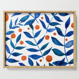 Watercolor berries and branches - blue and orange Serving Tray