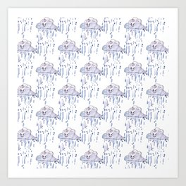Watercolor rain Art Print