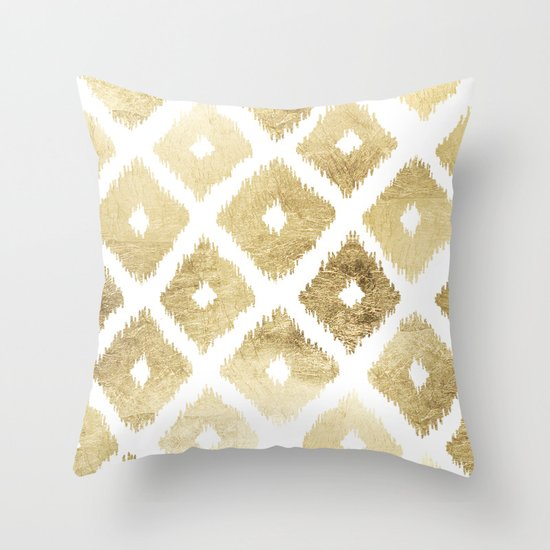 Modern Chic Pillows : Modern chic faux gold leaf ikat pattern Throw Pillow by Pink Water Society6