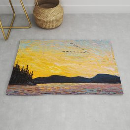 Tom Thomson - Round Lake, Mud Bay  - Canada, Canadian Oil Painting - Group of Seven Rug