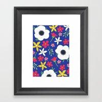 Betty Blue Floral Framed Art Print