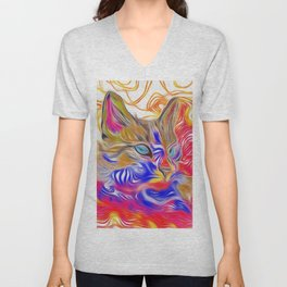 Bright Abstract Siamese Cat (Red, Blue, Gold) Unisex V-Neck
