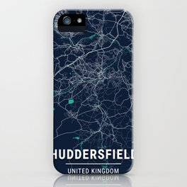 Huddersfield Blue Dark Color City Map iPhone Case