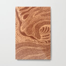 Mud Wave 2 - Abstract Lines - Terracotta Abstract - Modern, Contemporary Print - Brown, Burnt Orange Metal Print