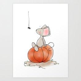 Little Mouse - Pumpkin  Art Print