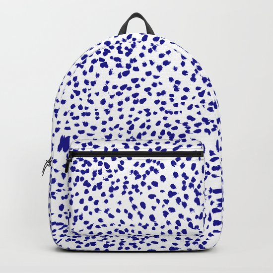 Vonnie - abstract minimal indigo blue dalmatian dots brushstrokes animal print monochromatic print Backpack