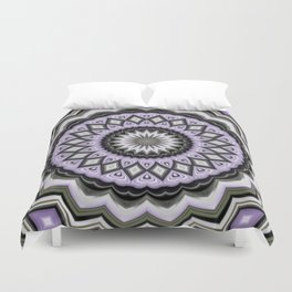 Ultra Violet Silver and Lilac Abstract Geo Pattern Duvet Cover