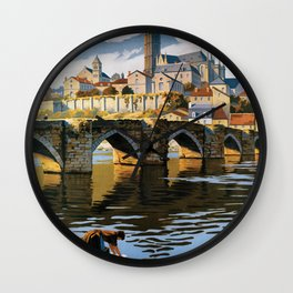 Limoges, French Travel Poster Wall Clock