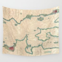 Vintage Map of Lake Champlain (1874) Wall Tapestry