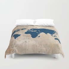 Rustic World Map Duvet Cover