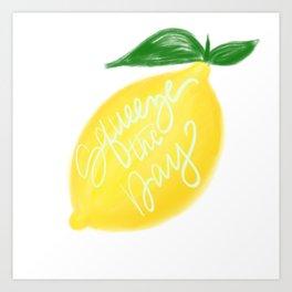 Squeeze the day lemon art Art Print