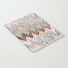 Rose Gold Chevron Glitter Glamour Marble Gem Notebook