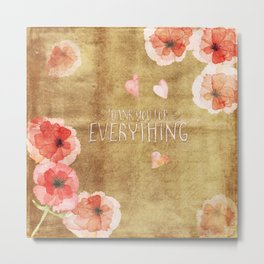 Thank you for everything- Vintage  Flowers Roses floral Illustration Metal Print